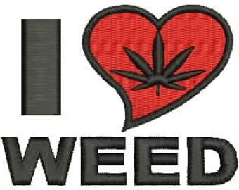 I Love Weed Embroidery Design