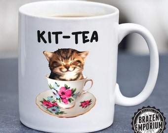 Kit-Tea Mug ©, Kitty Cat Funny Coffee - Tea Mug