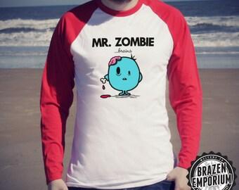 Mr Zombie ©, Mr Men Inspired Funny Baseball T-Shirt