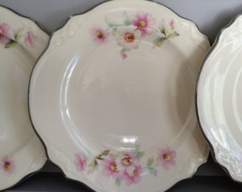 SALE FIVE Homer Laughlin Virginia Rose Bread & Butter/ Dessert China Plates Vintage USA 1930's Pink Roses Cottage Country Shabby Chic Rustic