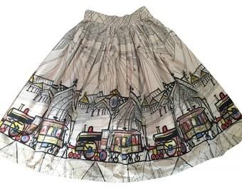 REDUCED Saul Steinberg Paddington Station Novelty Border Print Skirt