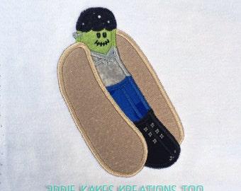 Frankenstein Hot Dog Applique Design / Franken Weenie / 2 Sizes / 4x4 5x7