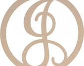 "23"" Large Script Circle Monogram Wooden Letters-All letters available"