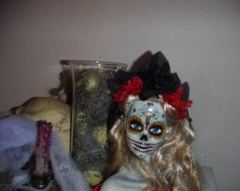 Dia De Los Muertos Sugar Skull Doll Bust