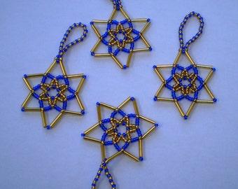 Set of 4 Beaded Stars - Dark Blue & Gold