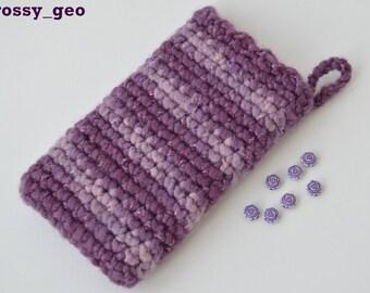 Purple crocheted phone case - Samsung Galaxy SII, Nokia Lumia 820, Huawei Ascend P6, Ascend G6