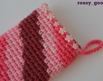 """Crocheted phone sleeve """"Bouquet"""" - Samsung Galaxy SII, Nokia Lumia 820, Huawei Ascend P6, Ascend G6"""