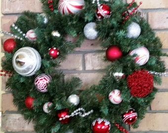 Red, Silver, and White Christmas wreath