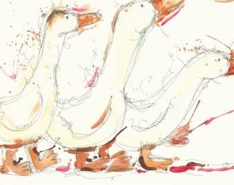 A4 ducks art print