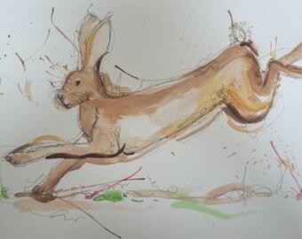 A4 jumping hare art print