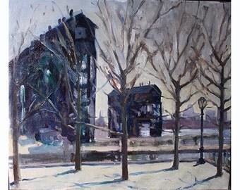 Long Island City landscape oil painting