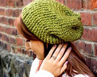 Crochet, Slouchy Beanie, Hat, Pea Soup, Green
