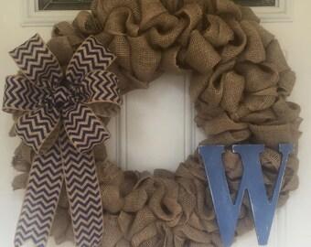 Burlap and Blue Wreath