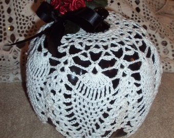Black Painted Pumpkin Decorated with Doily