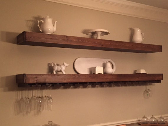 1 custom floating wood shelf with wine by pretzelandgoudawood. Black Bedroom Furniture Sets. Home Design Ideas
