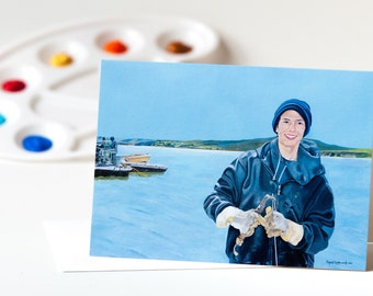 """Greeting Card 5 x 7 in. Of The Original Painting """"The Oyster Farmer"""" Painted By Award-Winning Artist Ingrid Lockowandt"""