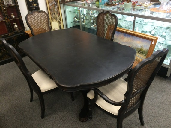 shabby chic black distressed cane dining set by madamesestate