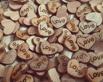 50 x Rustic Wooden Love Heart Wedding Table Scatter Confetti