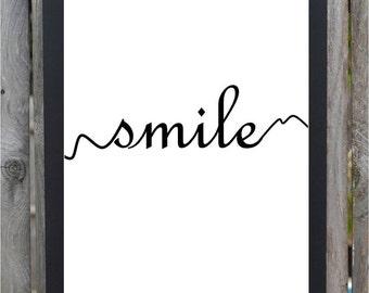 Smile Minimalist print, typography smile print black and white wall art feel good