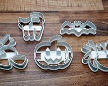 Halloween Cookie Cutter x 5 Per Pack - Pumpkin, Witch on a Broomstick, Cat, Bat, Spider