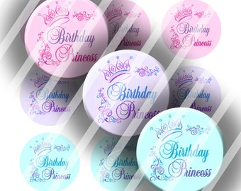 "Digital Bottle Cap Collage Sheet - Birthday Princess - 1"" Digital Bottle Cap Images"