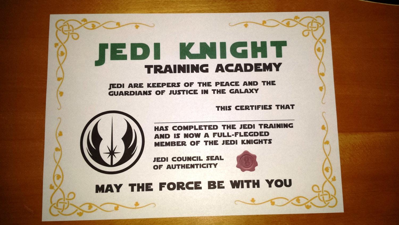 Star wars inspired printable jedi knight certificate for Jedi knight certificate