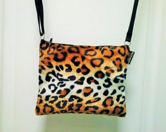 Flat satchel imitaion leopard fur shoulder strap