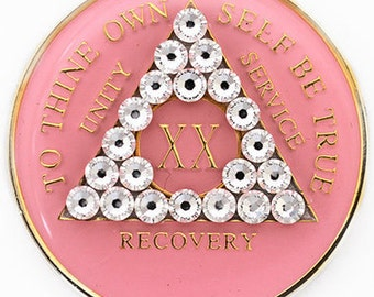 Crystallized Pink AA Sobriety Triplate Medallion