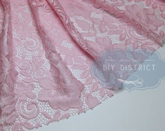 Clear pink floral lace.
