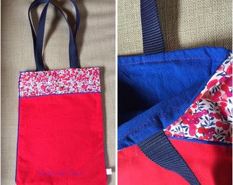 Tote bag red, Navy Blue and Liberty