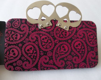 NEW Punk Rock Goth Skull Brass KNUCKLE CLUTCH Wallet  w Cell Phone Compartment