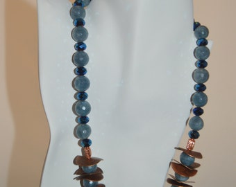 Agate and Copper Earring and Necklace Set