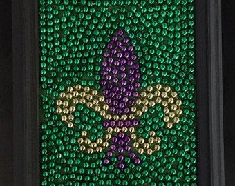 Fleur de Lis Mardi Gras Bead Art