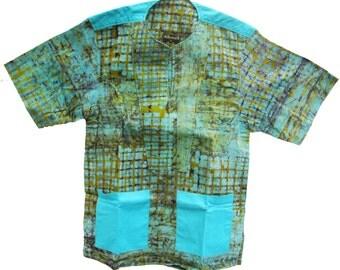 Allswell Men's Batik Shirt, Turquoise, B7S36, Small, Free US shipping
