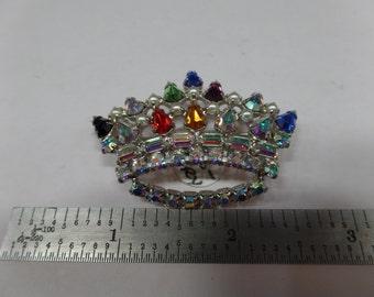 Vintage Old Antique Crown Pin Very Clean Rhinestones