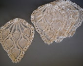 Pineapple or Strawberry Ivory Set of 5 Crocheted Doillies