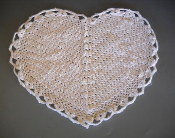 White Cotton Crocheted Heart Shaped Doily