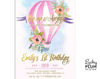Hot Air Balloon Birthday Invitation / Watercolor Invite / Pink Green Birthday Invite / Balloon Invite / Up Up Away Invite