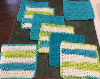 Washcloths or Dishcloths Lime Green and Turquoise Stripes and Solids Handmade Crochet Qty of 8