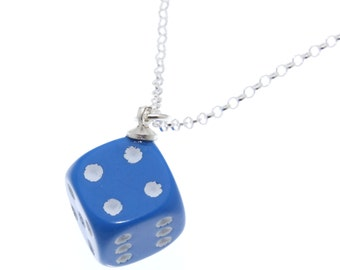 Blue D6 Dice Pendant on Sterling Silver Chain