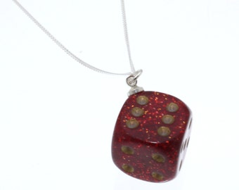 Red Glittery D6 Dice Pendant on Sterling Silver Chain