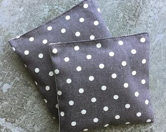 Organic Lavender Sachet Set in Steel Grey Linen Polka Dots Set of 2 Japanese Linen Herbal Sachet Natural Home