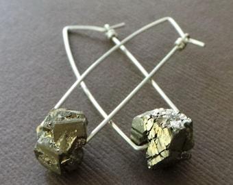 Raw Pyrite Nugget Earrings Fools Gold Dangle Earring Organic Modern Simple Earrings