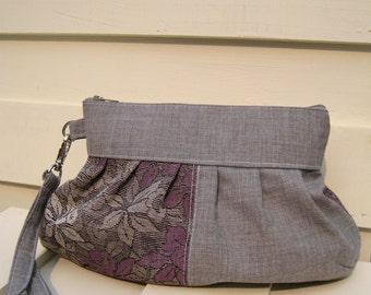 Bridesmaid clutch,  grey,kimono wool,wristlet, janbag wristlet,-- Kimono wool flower
