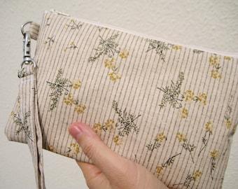 Wedding Clutch 2 pockets,medium,linen colour,flowers,discount plan set, wristlet, cotton ---- Little flowers