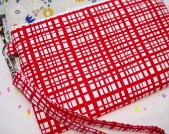 WEDDING CLUTCH 2 pockets, medium,red,checker,discount plan set,cotton, -- Woven red