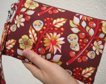 Wedding Clutch 2 pockets,medium,red,flowers, wristlet, cotton-- - Sprout jam