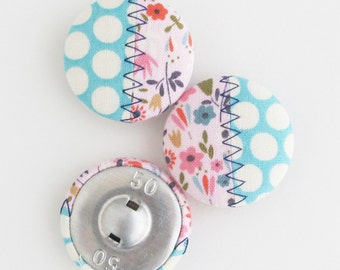 Fabric Covered Buttons 1.25 Inch | 32mm Patchwork Self Shank Buttons | Stitchy Fiber Art Buttons