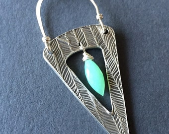 To a Point, Chrysoprase, Fine Silver, Sterling Silver Necklace, erinelizabeth
