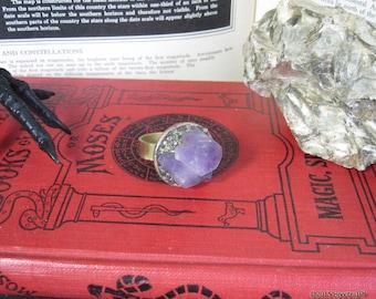 Size 12 Amethyst Ring | Plus Size Statement Ring | Pyrite Amethyst Ring | Fatshion | Gypsy Ring | Boho | Gemstone | Gift for her